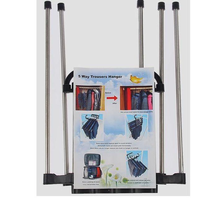 Набор вешалок раздвижных для брюк на 5 спиц, 5 шт, черный, 34 x 18 x 17 см
