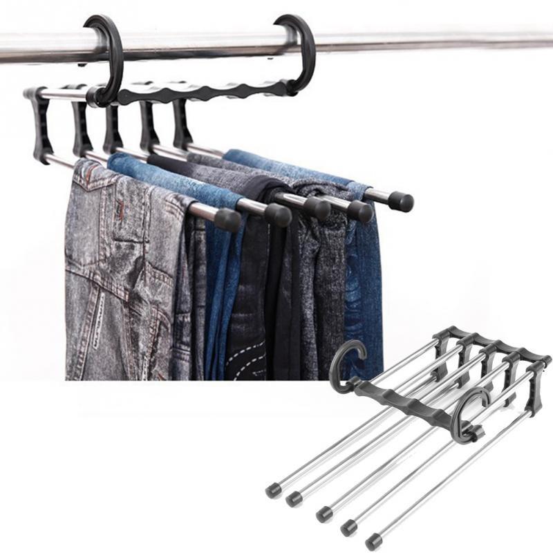 Купить набор вешалок раздвижных для брюк на 5 спиц 5 шт черный 34 x 18 x 17 см