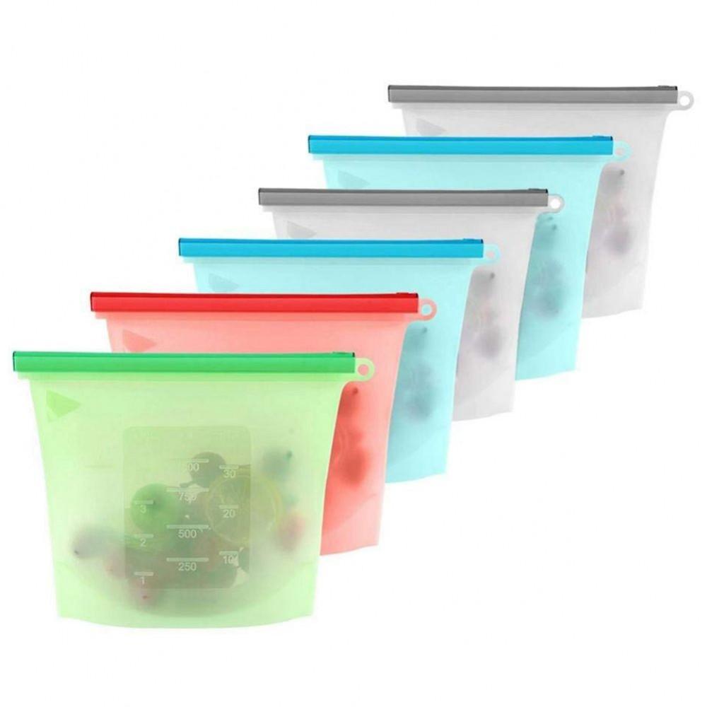 Купить набор силиконовых герметичных пакетов для хранения продуктов 1 л 3 шт