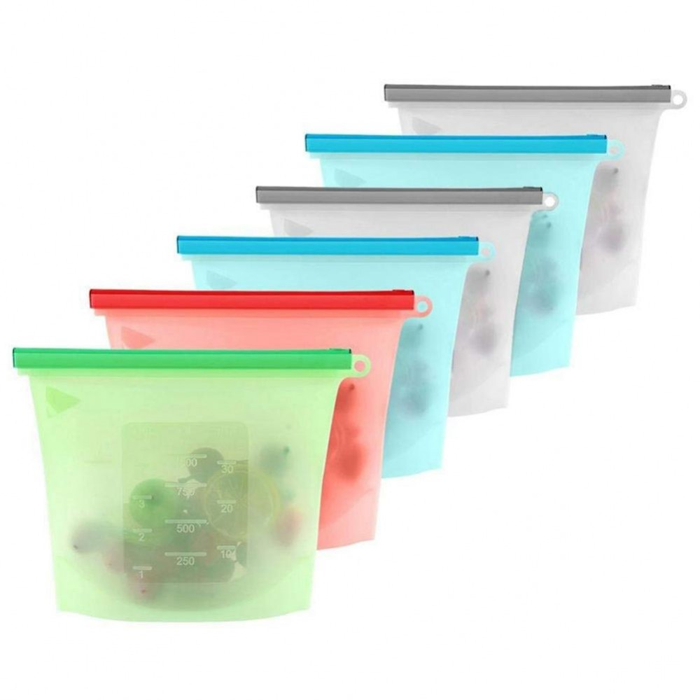 Купить набор силиконовых герметичных пакетов для хранения продуктов 1 л 10 шт