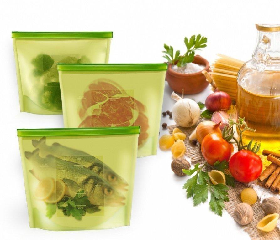 Купить набор силиконовых герметичных пакетов для хранения продуктов 1,5 л 3 шт