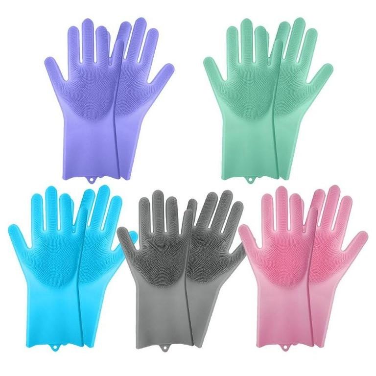 Купить набор силиконовых перчаток-щеток для мытья посуды 5 шт