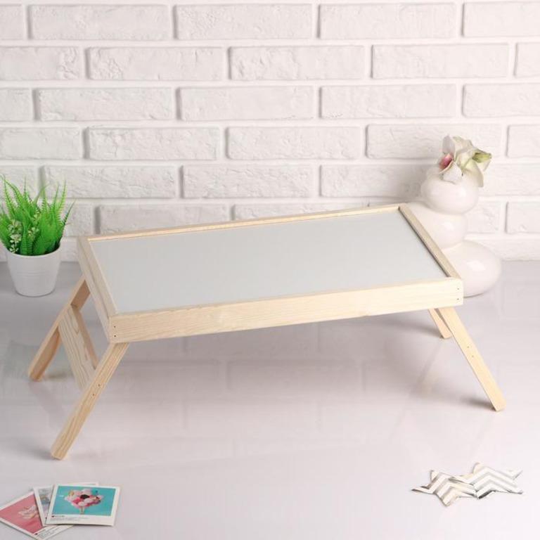 Купить столик для завтрака складной Russo белый 50 x 30 см