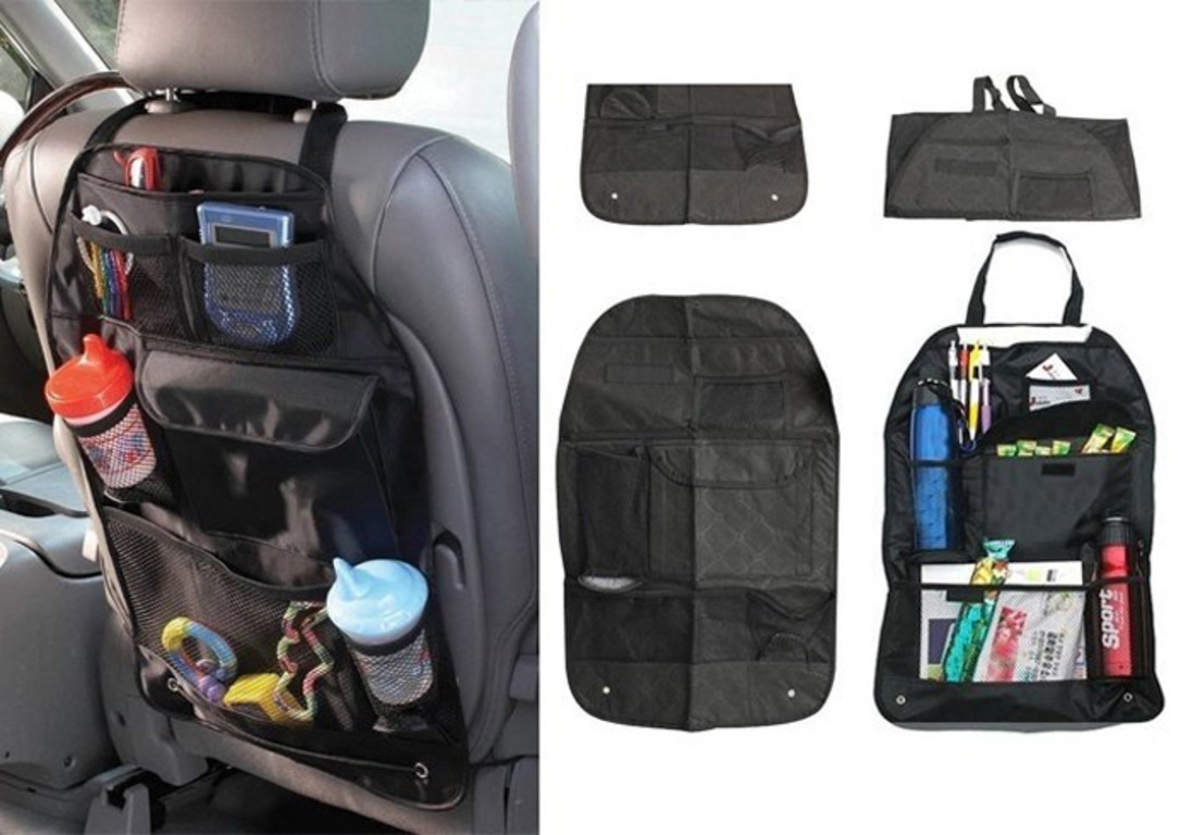 Купить авто-органайзер на спинку сидения с карманами черный 57 x 39 см