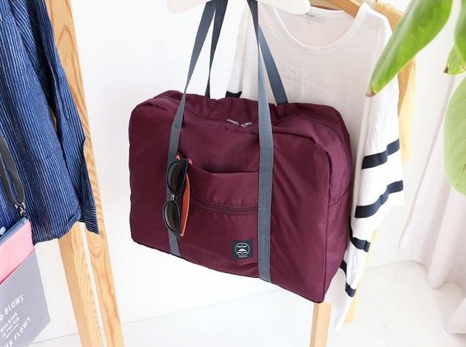 Купить складную сумку для путешествий бордовый 48 х 16 x 32 см