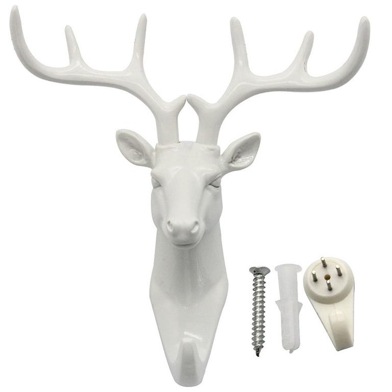 Купить крючок Голова Оленя белый 18,5 x 17 см