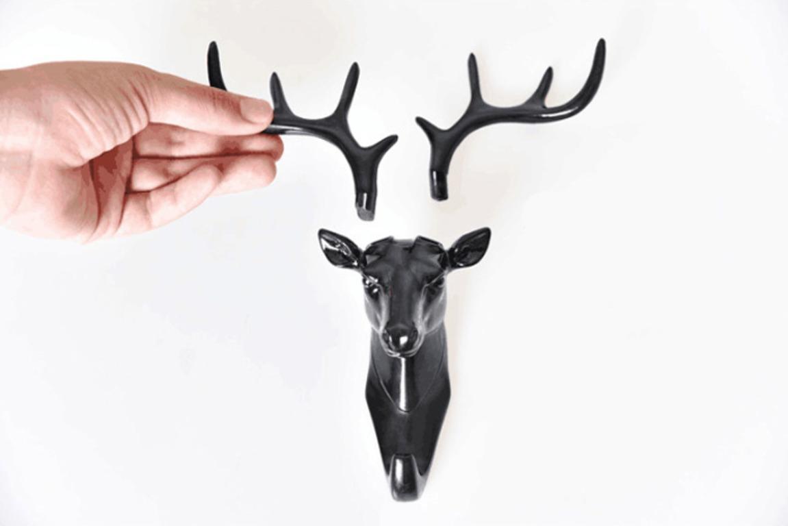 Купить крючок Голова Оленя черный 18,5 x 17 см