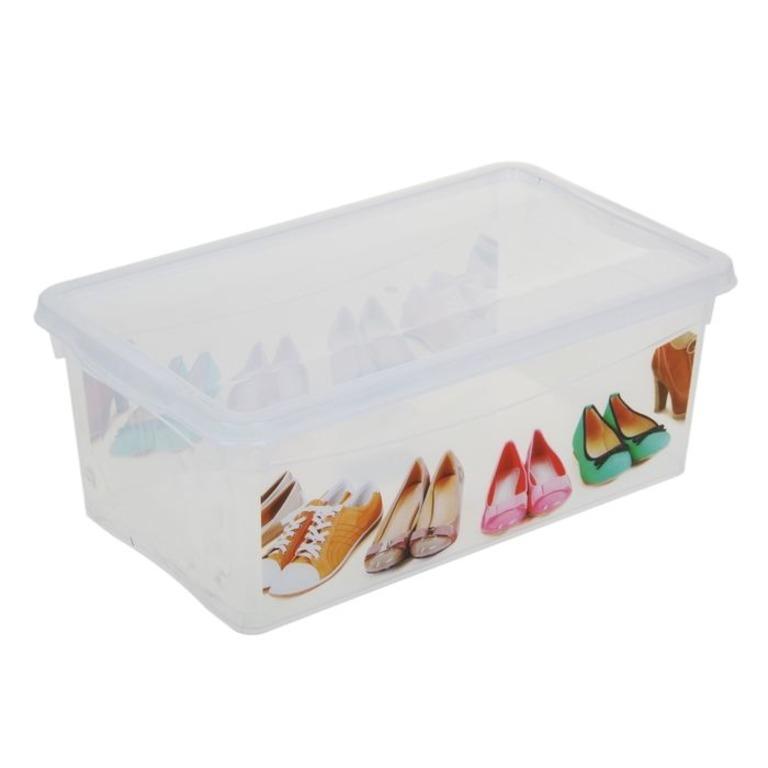 Купить короб для хранения обуви прямоугольный прозрачный 33 х 19 х 12 см
