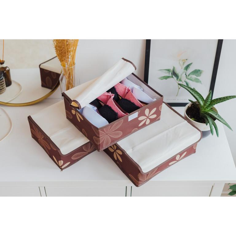 Купить Комплект органайзеров с крышкой Премиум 3 шт коричневый 32 х 24 х 12 см