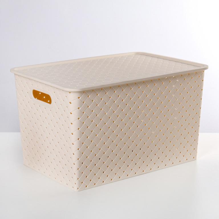 Купить корзину с крышкой Все связано 14 л бежевый 35 x 24,5 x 20,5 см