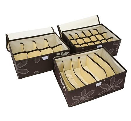 Комплект из 3х органайзеров с крышкой Премиум, коричневый, 32 x 24 x 12 см