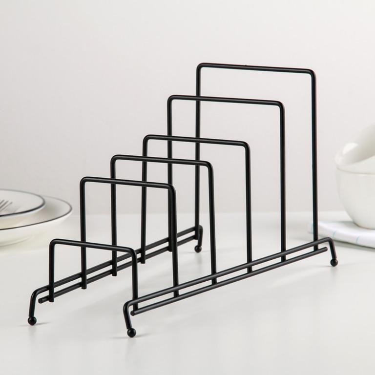 Купить подставку для крышек на 5 предметов черный 28 x 12,5 x 16 см