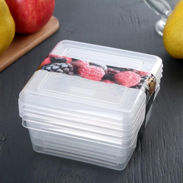 Купить набор емкостей для заморозки 3 шт 0,5 л 12 x 12 x 8 см