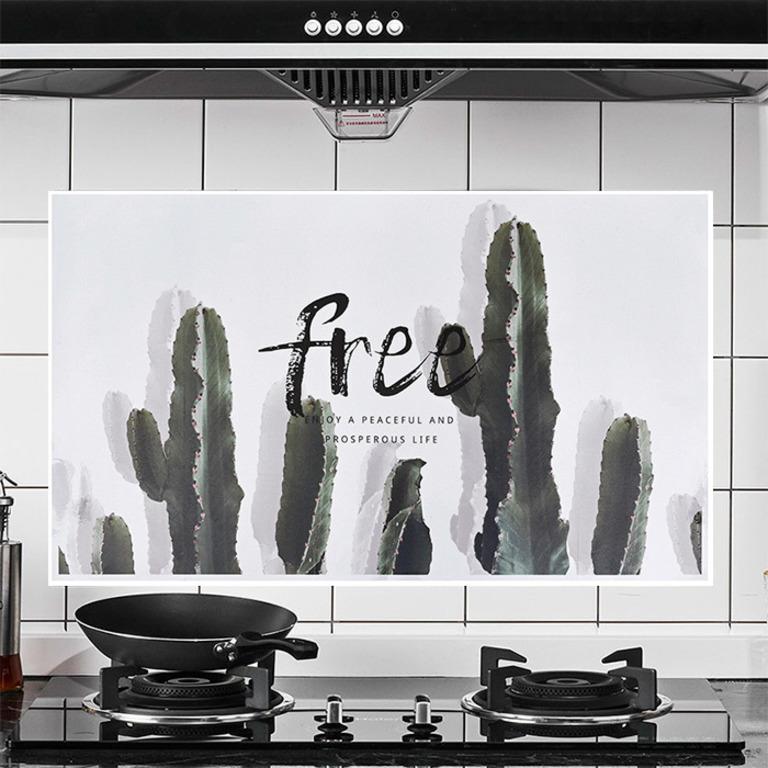 Купить наклейку жироотталкивающая для кухни Cactus серый 75 x 45 см