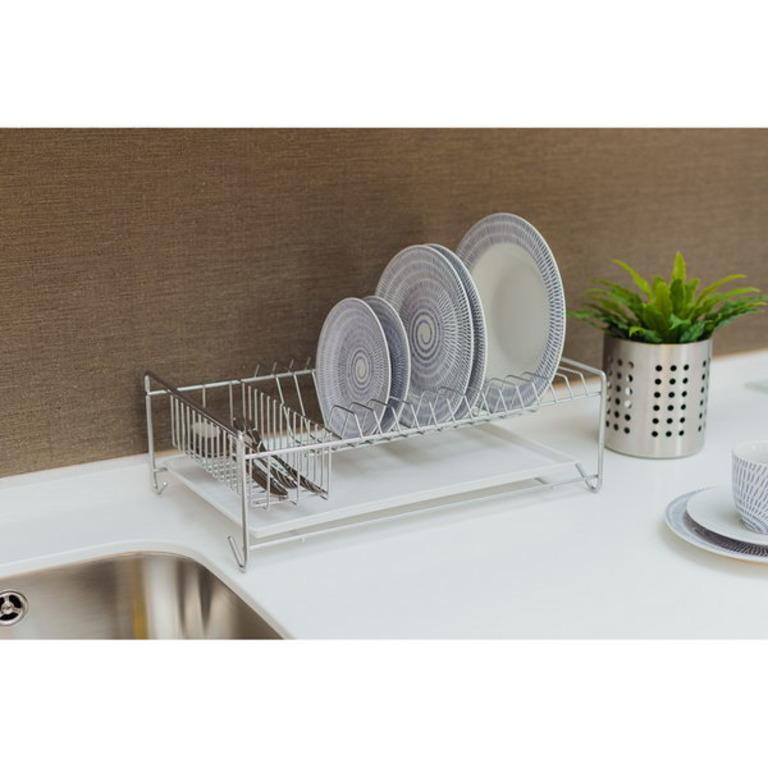 Купить сушилку для тарелок с поддоном хром 40 x 23 x 15 см