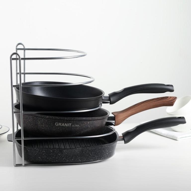 Купить подставку для хранения сковородок вертикальная хром 26 x 22 x 27 см