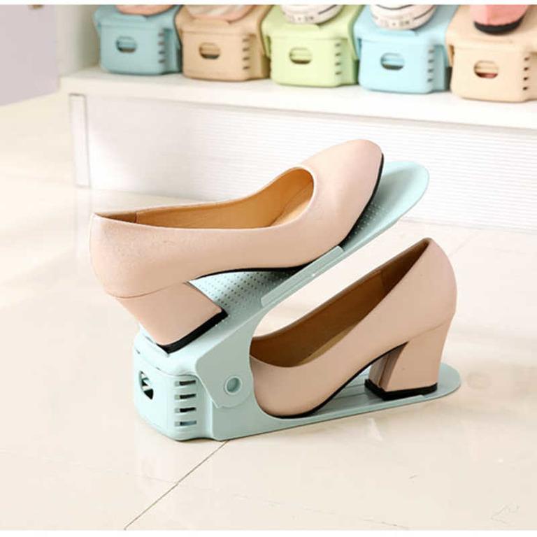 Купить подставку для обуви на одну пару модель 1 голубой 25 х 9 х 10-18 см