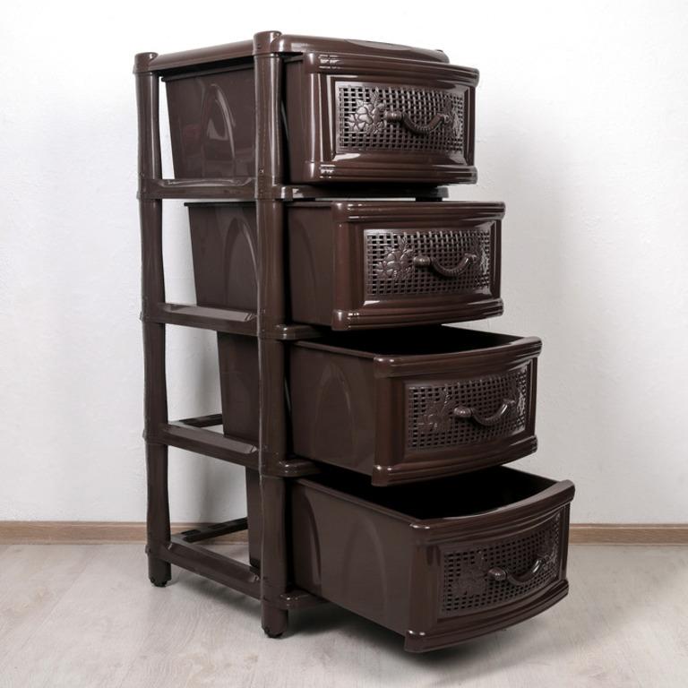Купить комод Choco 4 секции коричневый 38 x 48 x 98 см