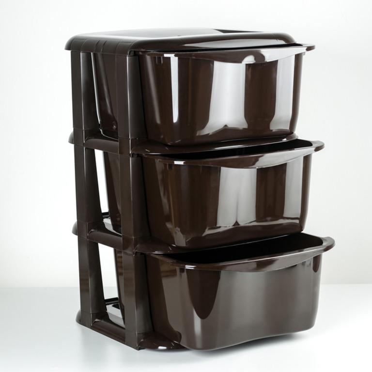 Купить комод Cozy 3 секции коричневый 35,5 x 35,5 x 56 см