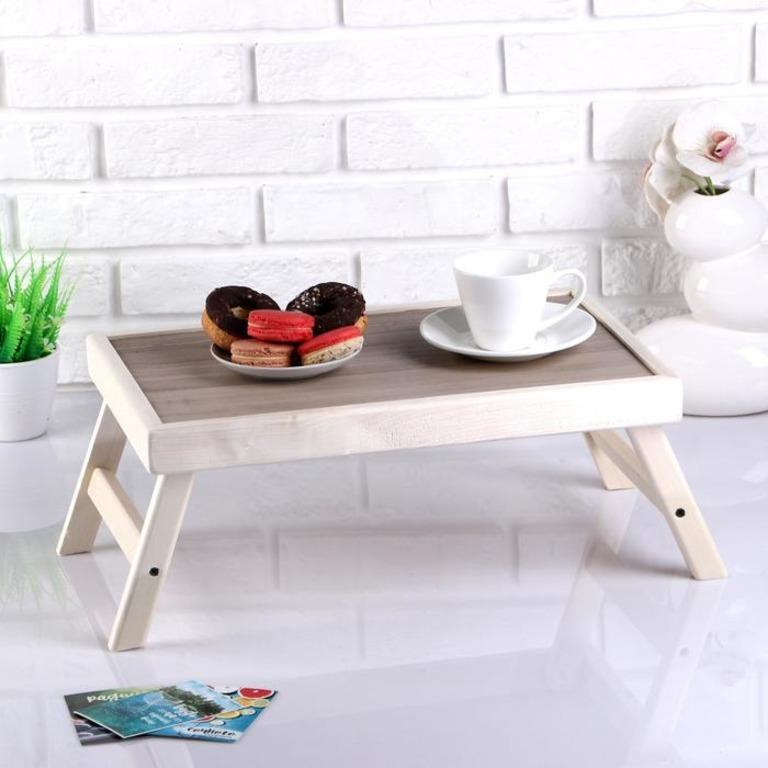Купить столик для завтрака складной Пробуждение бежевый 50 x 30 см
