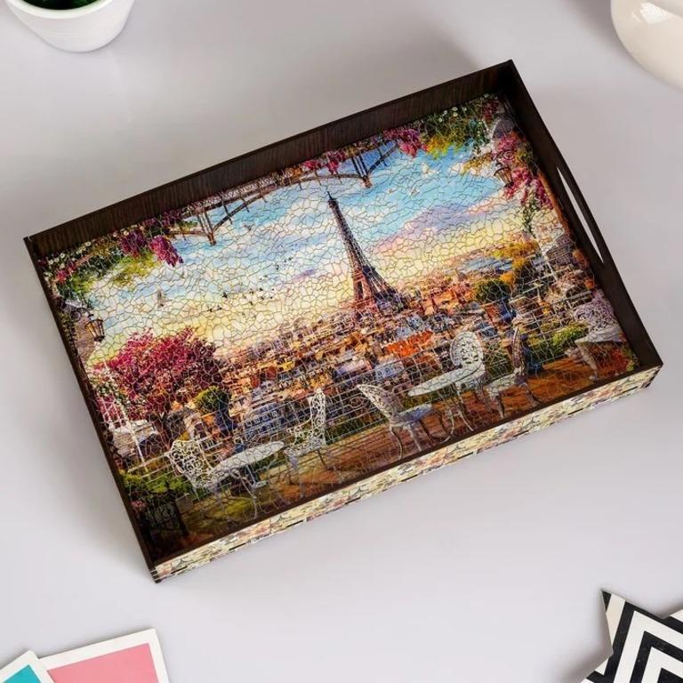 Купить поднос с ручками Париж деревянный 30,4 х 20,4 х 4,7см