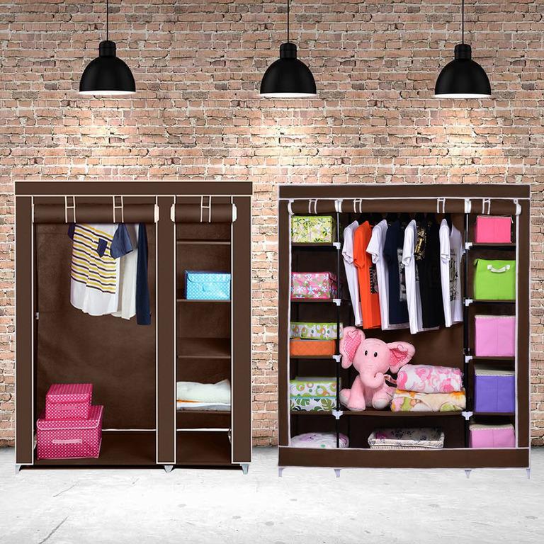 Купить комплект тканевых шкафов Трио+Дабл коричневый