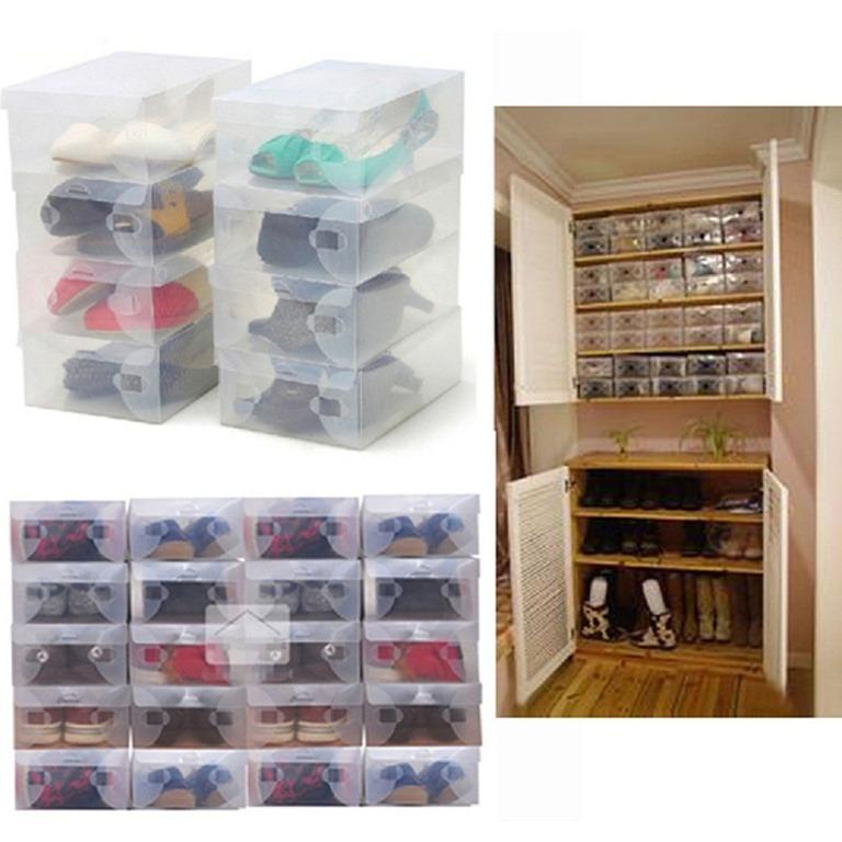 Купить набор из пластиковых коробок для обуви 5 шт 33 x 18,5 x 9,5 см