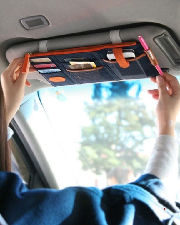 Купить авто-органайзер на солнцезащитный козырек синий 29 x 14,8 см