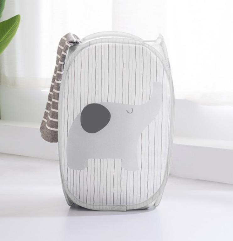 Купить корзину для белья Elephant серый 30 x 30 x 50 см