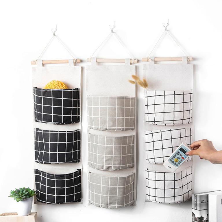 Купить карманы на стену Клетка белый 58 x 20 см