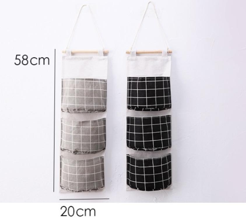 Купить карманы на стену Клетка черный 58 x 20 см