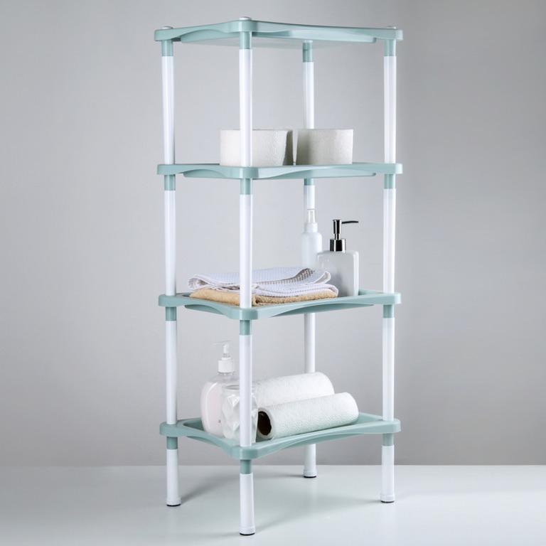 Купить этажерку напольную четырехсекционную Лагуна серый 27,8 х 40,2 х 93,5 см
