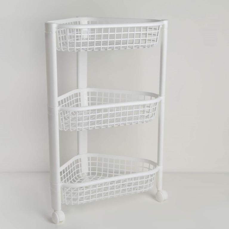Купить этажерку напольную угловую трехсекционную 38 х 27 x 57 см