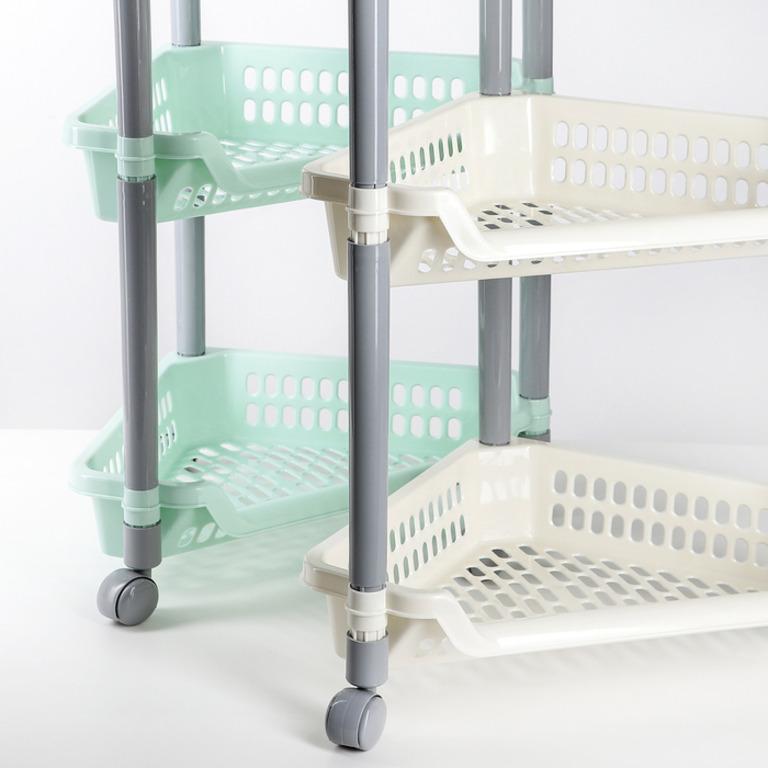 Купить этажерку напольную угловую четырехсекционную на колесиках 38 х 30 х 82 см