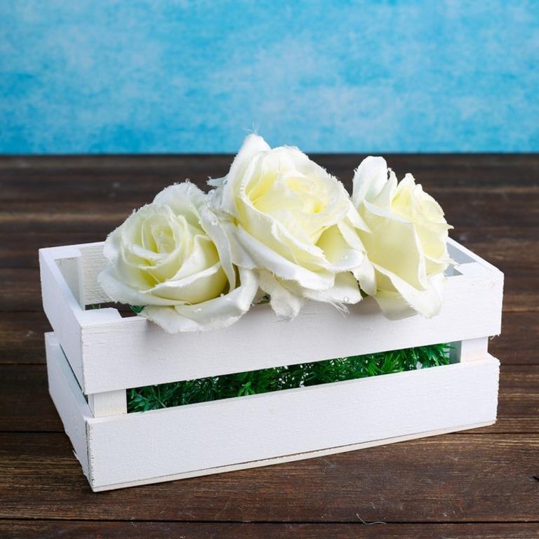 Купить кашпо деревянное Mila двухреечное белый 24,5 x 13,5 x 9 см