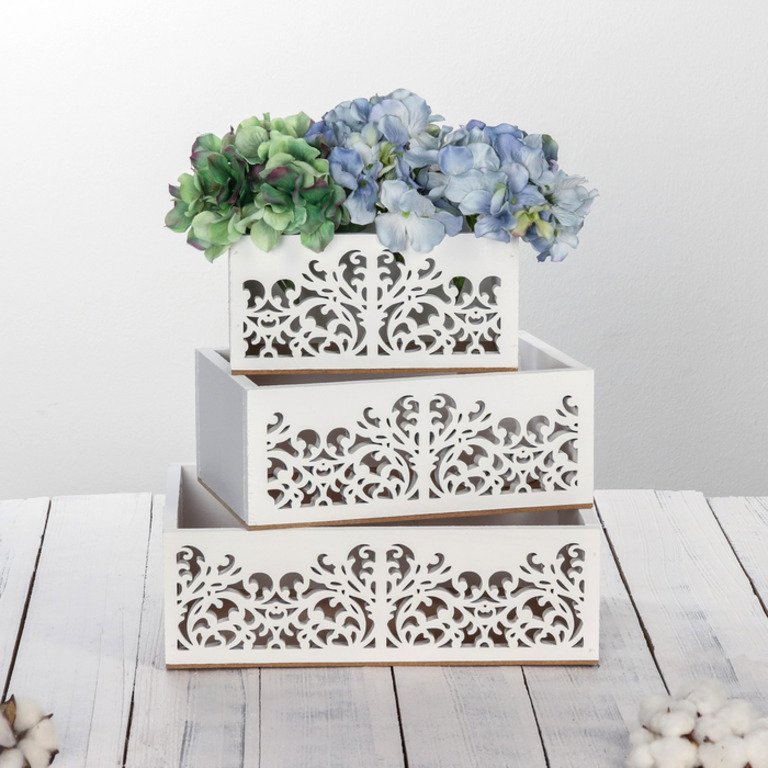 Купить набор деревянных ящиков 3 в 1 Иней белый 30 х 25 х 20 см