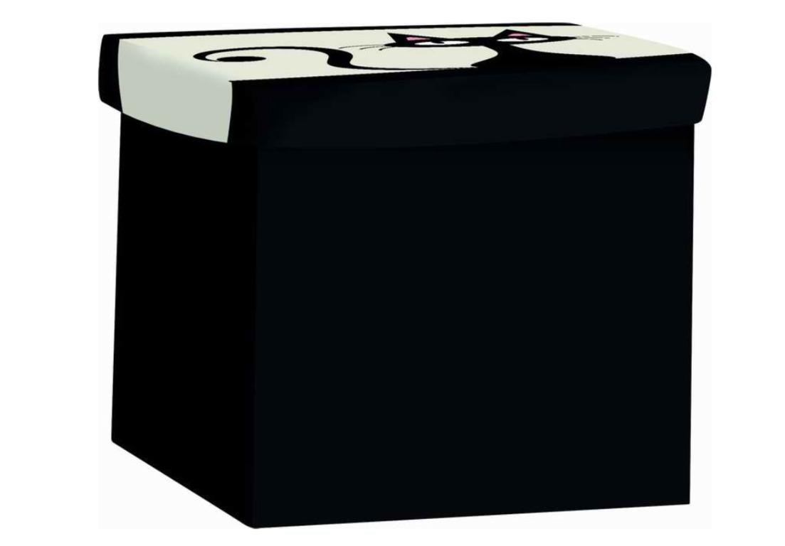 Купить пуф складной с отделением для хранения Cat черный 30 x 30 x 30 см