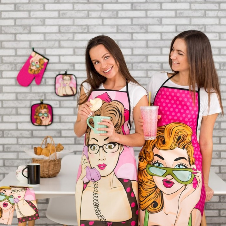 Купить кухонный набор Поп-арт прихватка 2 шт розовый 17 x 17 см