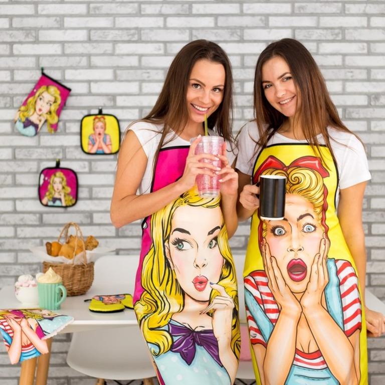 Купить кухонный набор Поп-арт прихватка 2 шт желтый 17 x 17 см