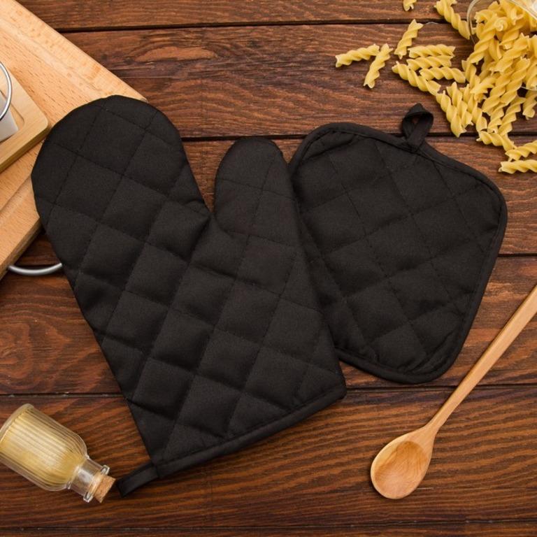 Купить кухонный набор Kitty прихватка и рукав, коричневый 17 х 17 см и 26 х 16 см