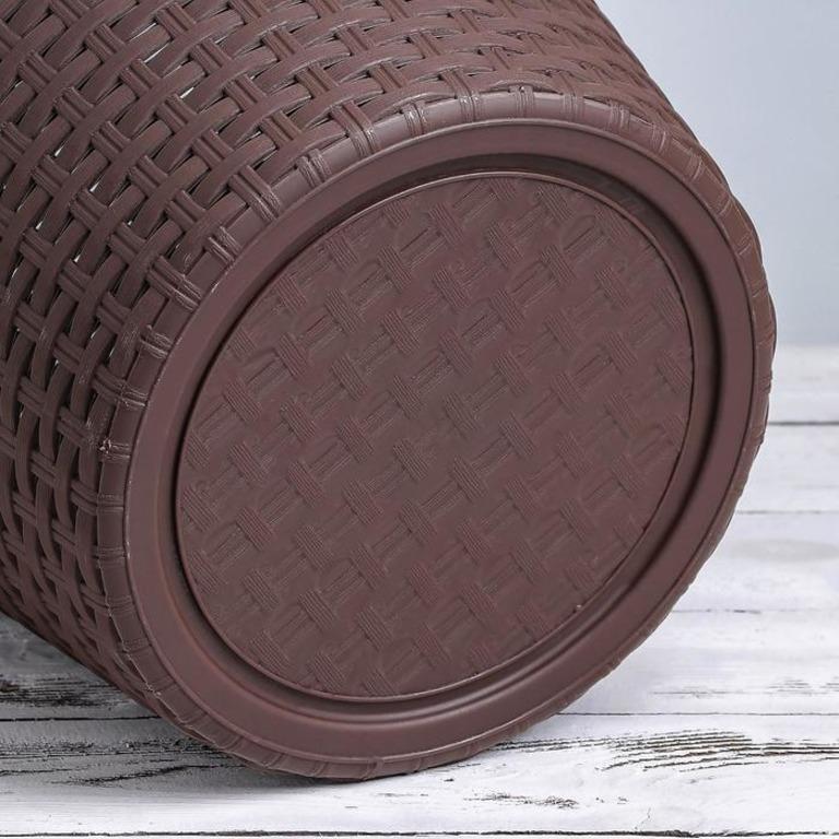 Купить корзину для белья с крышкой Rattan 15 л коричневый 32 x 32 x 27 см