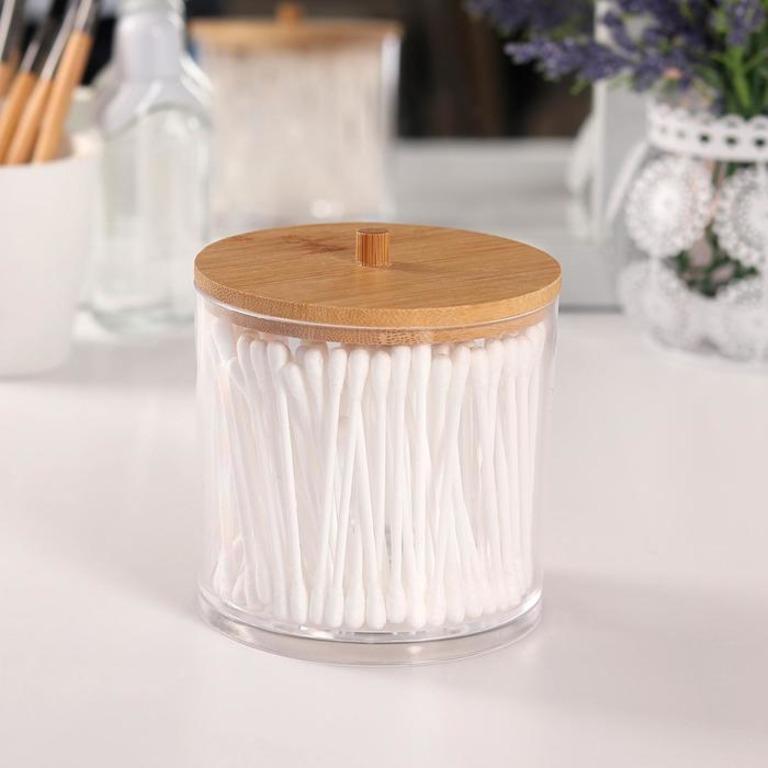 Купить контейнер для хранения ватных палочек коричневый 9,5 x 9,5 x 9,7 см