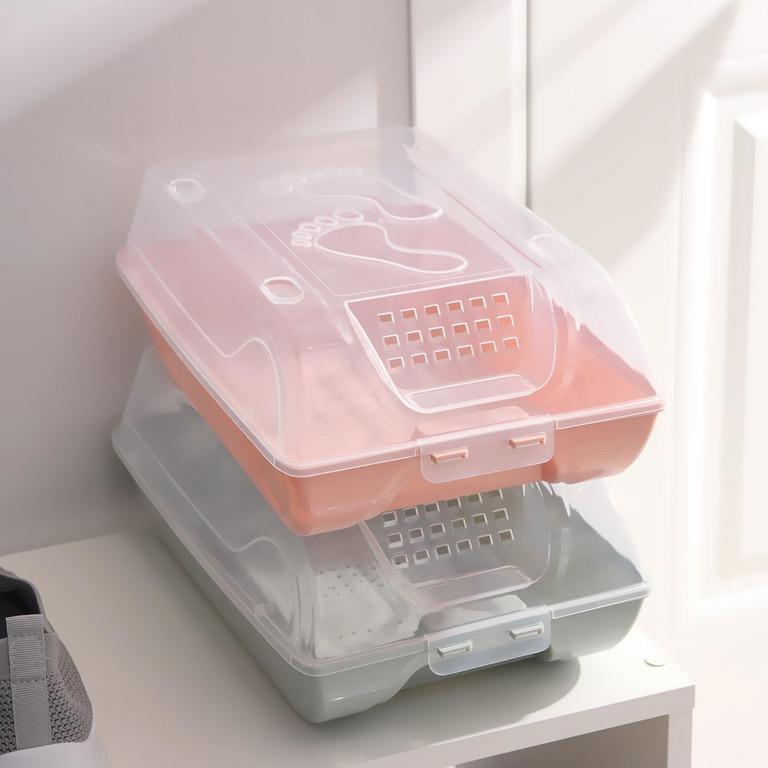 Купить комплект коробок для хранения обуви Trace голубой 5 шт 37 х 22 х 14 см