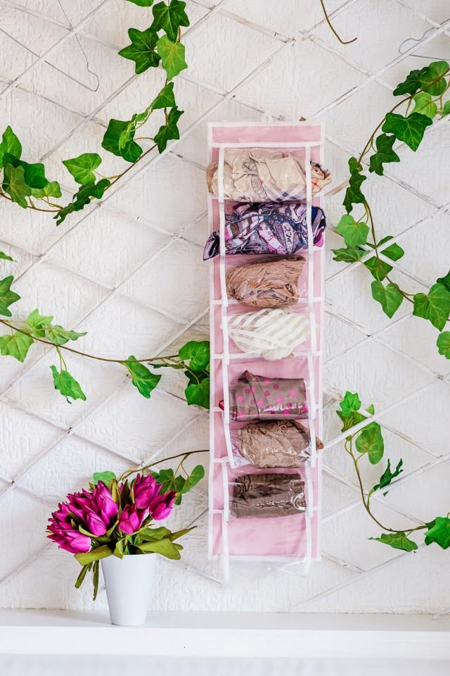 """Органайзер для колготок, шарфов, очков и мелочей """"Capri"""", розовый,  20 х 80 см"""