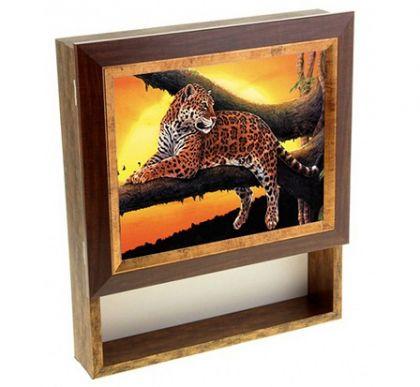 "Настенная ключница ""Леопард на дереве"" с полкой, 20 х 25 см"