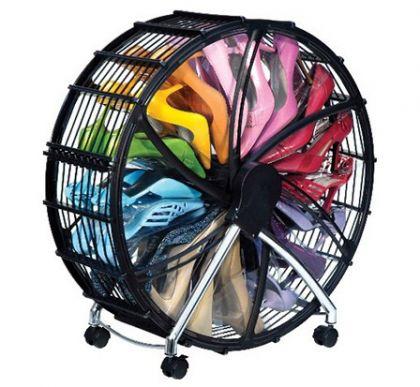Обувница - колесо для хранения обуви на 18 пар, черное