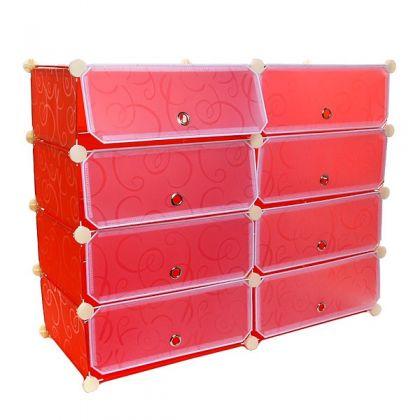 Стеллаж обувной из 8 кубов, красный
