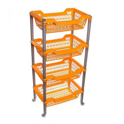 Этажерка многофункциональная на колесах 4 корзины, оранжевая
