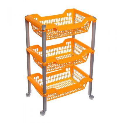 Этажерка многофункциональная на колесах 3 корзины, оранжевая