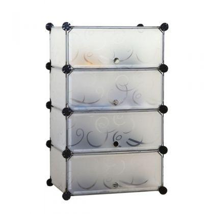 Стеллаж универсальный из 4 ярусов с дверцами, 50 x 37 x 80 см